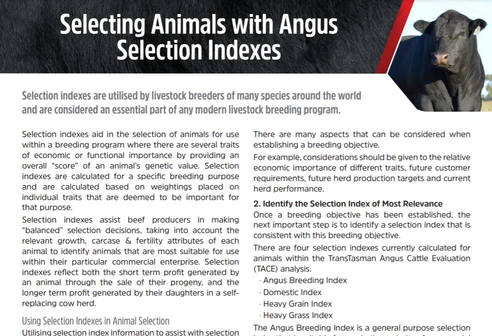 Selecting Animals with Selection Indexes