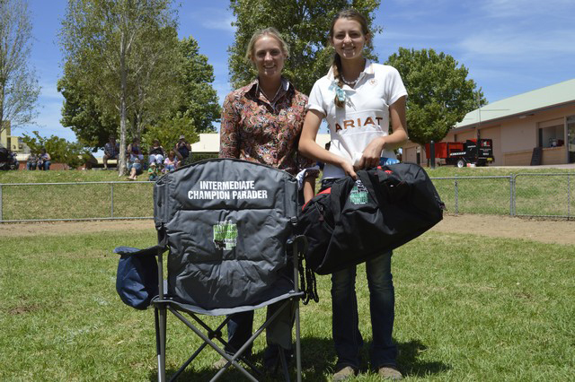 Aimee Bolton - Intermediate Reserve Champion Herdsman (left) and Claudia Nielsen- 3rd Place Intermediate Herdsman (right), at Roundup 2015 in Wodonga.