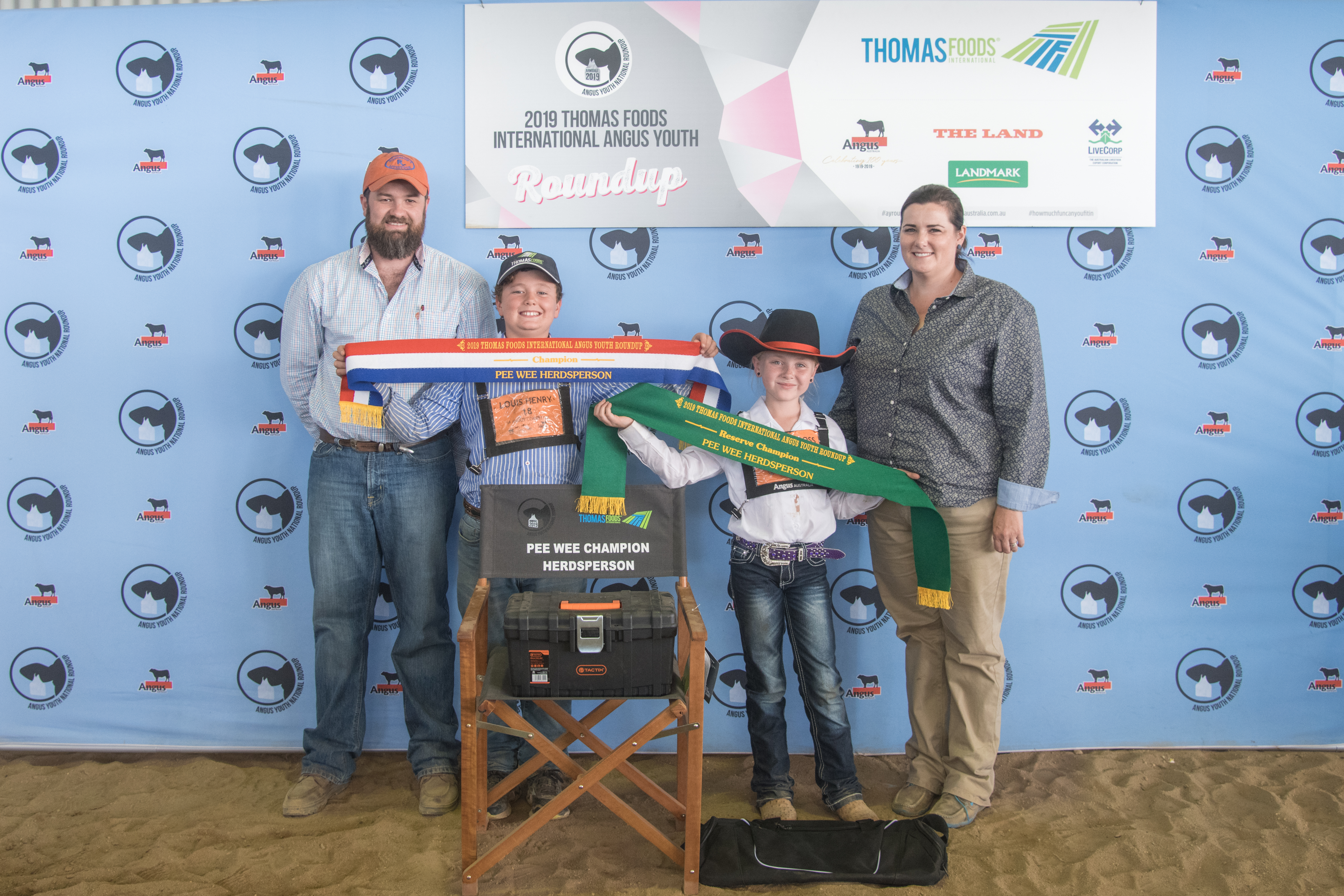 Hayley Robinson (right) at the 2019 Thomas Foods International Angus Youth Roundup with Brad Robinson, Louis Henry and Taylah Hobbs