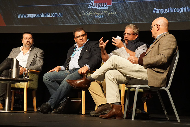 Anthony Puharich, Vic's Premium Quality Meat & Victor Churchill Butchery, Jason Strong, MLA CEO, Sam White, Bald Blair Angus and Jon Condon, Beef Central during the Panel Session