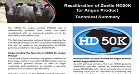 Technical Summary of Recalibrated  Zoetis HD50K for Angus Product