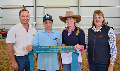 Lanark Angus SA Junior Heifer Expo Award Recipient Chloe Gould and Encouragement Award recipient Ryan Ballentine pictured with Mark and Lynn Fairlie from Lanark Angus