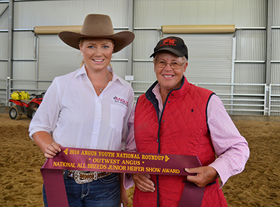 2016 Outwest Angus NSW All Breeds Heifer Show Award recipient Jasmin Ramage, pictured with Marg McLeish from Outwest Angus