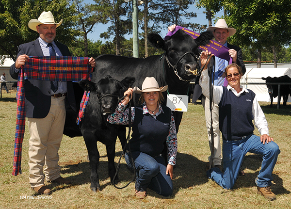 Judge Ian Burkin, Coolatai , sashes the Supreme Champion Female at Canberra