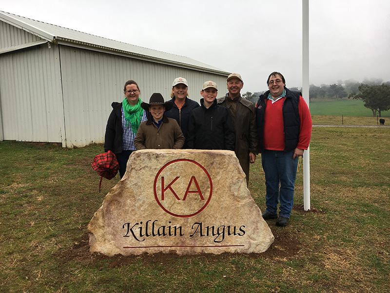 Angus Australia's Robyn Kelly and Kelso Looker,, with Benjamin, Susie, Thomas and Richard Duddy  (centre).