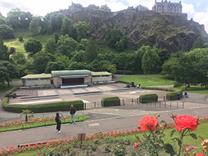 Edinburgh Castle viewed from the Princes St Gardens
