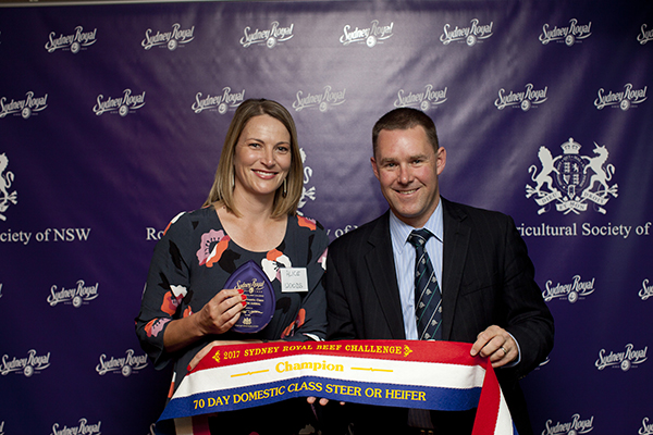 RAS Domestic Individual Animal Champion Alice Woods (Southern Border Partnership  Alister Rayner (RAS Council)
