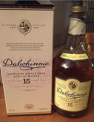 Bottle of Dalwhinnie Whiskey