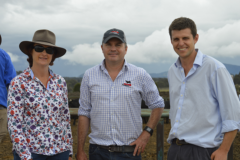 Dr LInda Cafe from NSW DPI with Angus Australia's Strategic Projects Manager Christian Duff and Dr Sam Clarke from UNE.