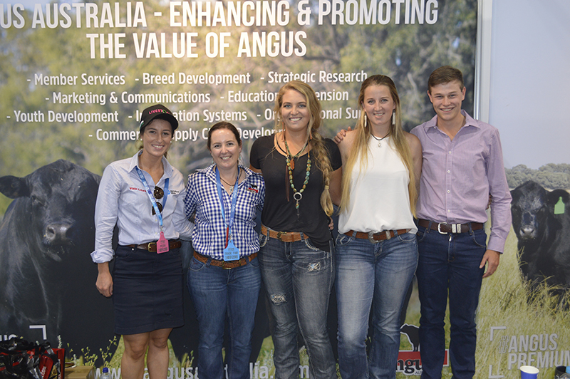 Angus Youth enjoying Beef Australia - Hannah Powe, Events & Angus Youth Development Officer, Candice Liddle, Mardi O'Brien, Emily Hurst and Jack Laurie.