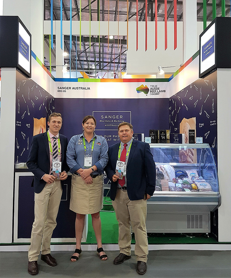 James Larkin, SE Asia Sales & Tim Sullivan, China & Asia Sales Manager from Sanger Australia with Liz Pearson, Commercial Supply Chain Manager, Angus Australia at FHA 2018