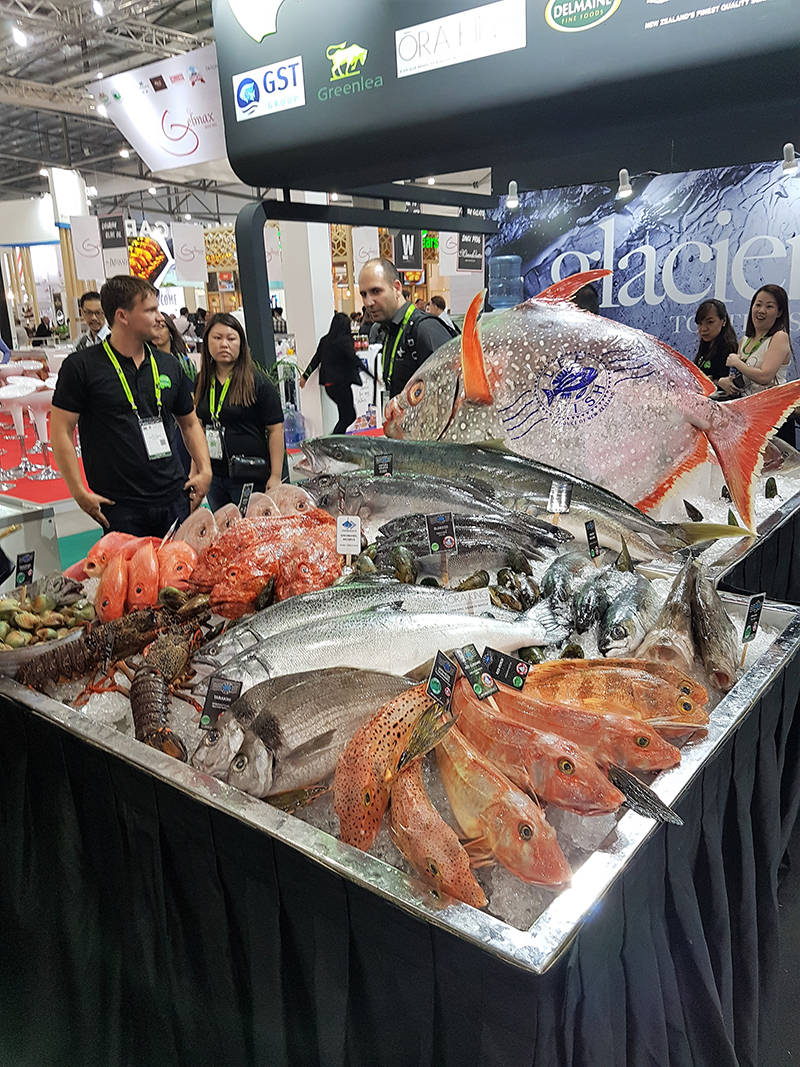 Fresh seafood display at FHA 2018 Singapore