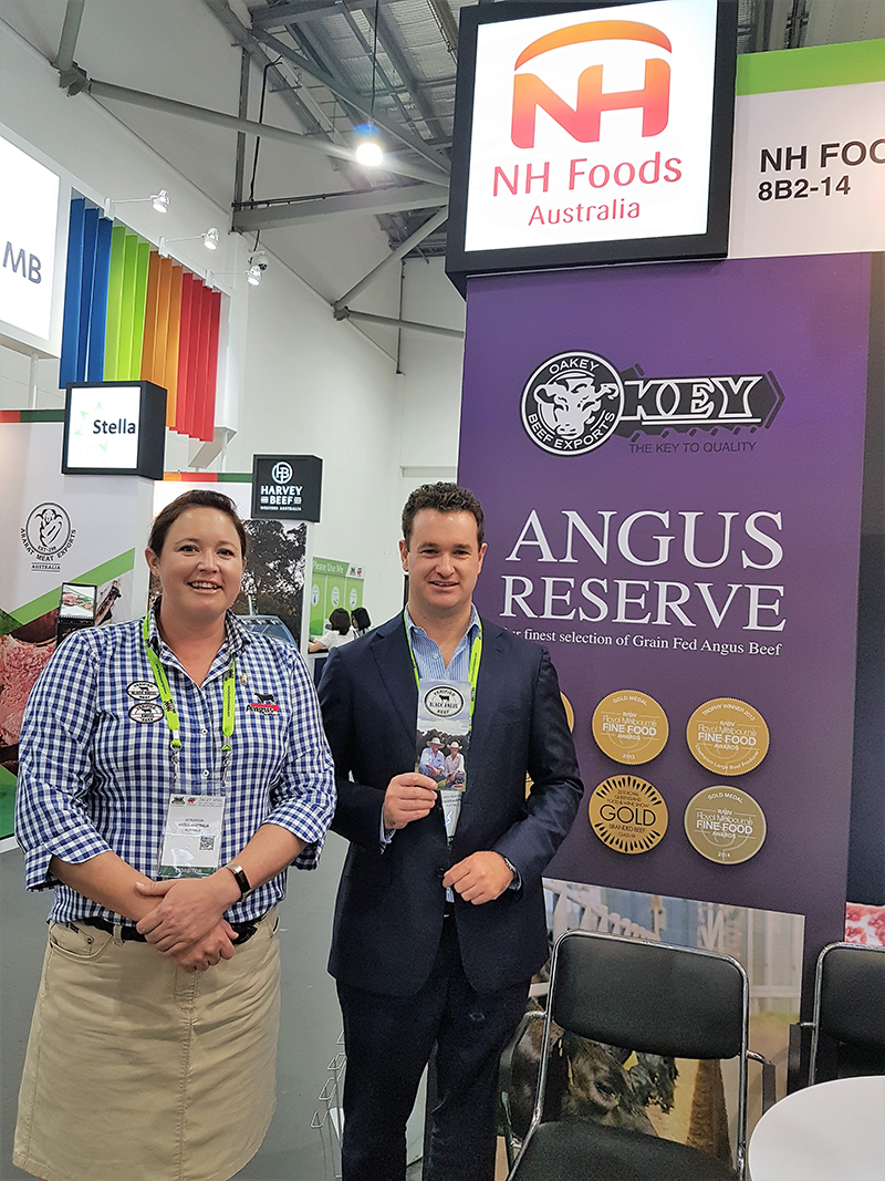 Greg Simmons, Export Sales, NH Foods Australia with Liz Pearson, Commercial Supply Chain Manager, Angus Australia at FHA 2018