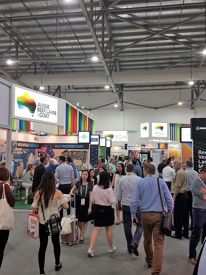 MLA's True Aussie Beef and Lamb section containing Australia Beef and Lamb Exhibitors at FHA 2018 Singapore