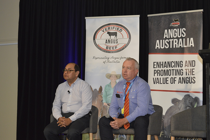 Marcel Moodley and Pat Gleeson taking questions from the crowd during the Angus Benefit seminar at Beef Australia 2018