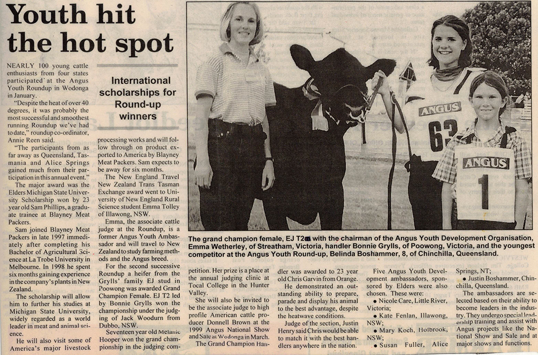 Report form the 1999 Angus Youth Roundup held in Wodonga VIC