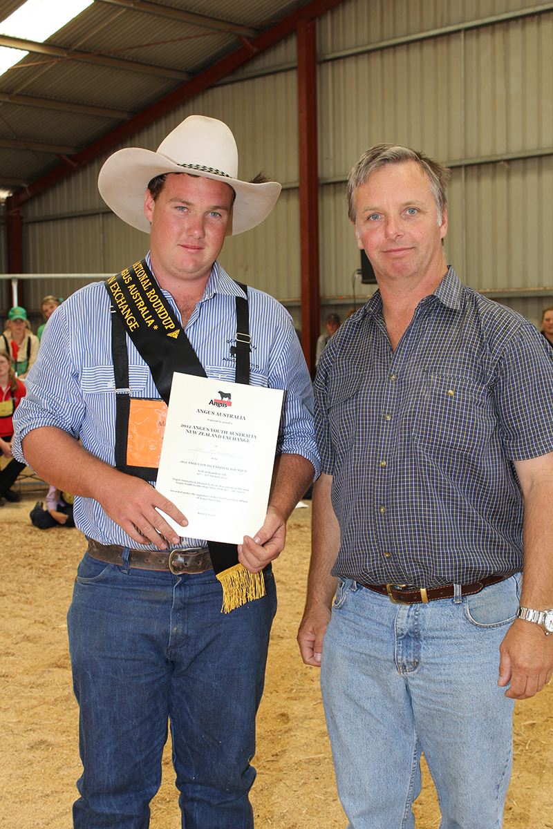 Zac McInerney, pictured with Angus Australia President, Mark Gubbins.
