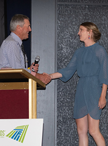 Brad Gilmour, Angus Australia President, congratulating Chloe Gould at the 2019 Special Dinner Dance