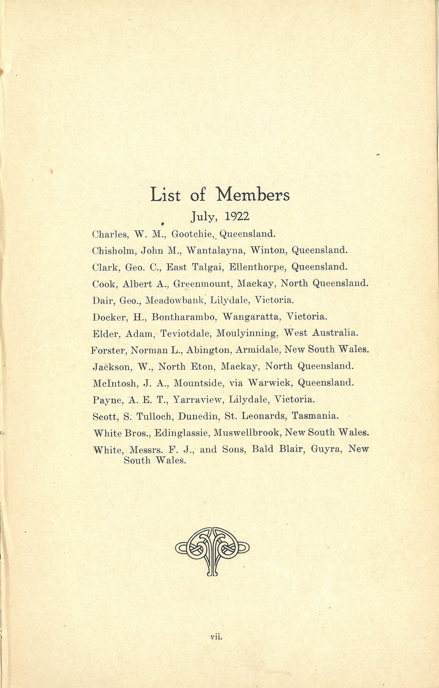 First list of members