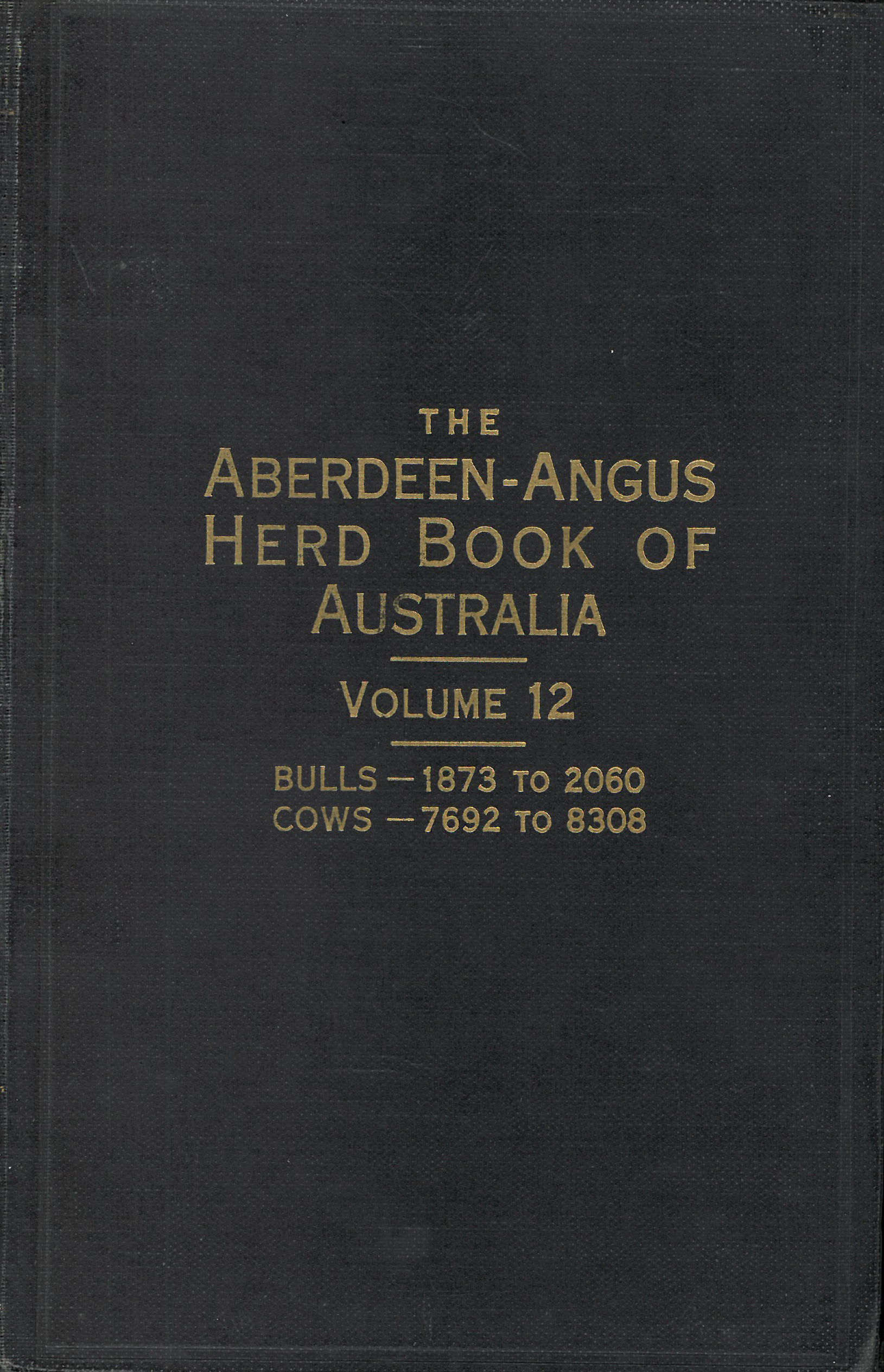 The Aberdeen-Angus Herd Book 12 Cover