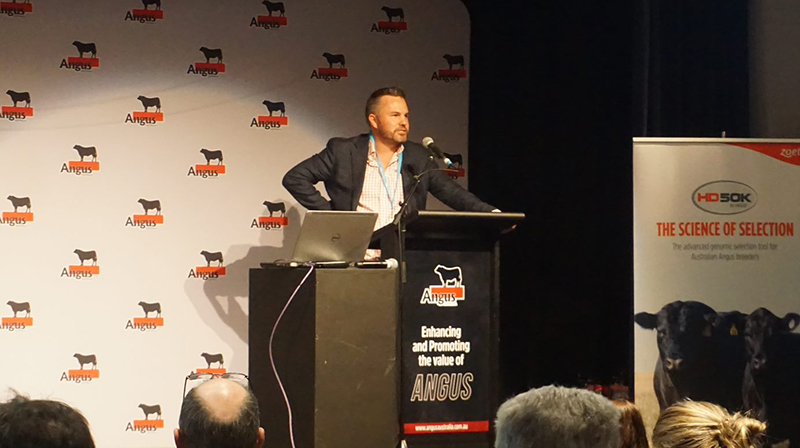 Christian Duff, Angus Australia  presenting '10 years of the Angus Sire Benchmarking Program'
