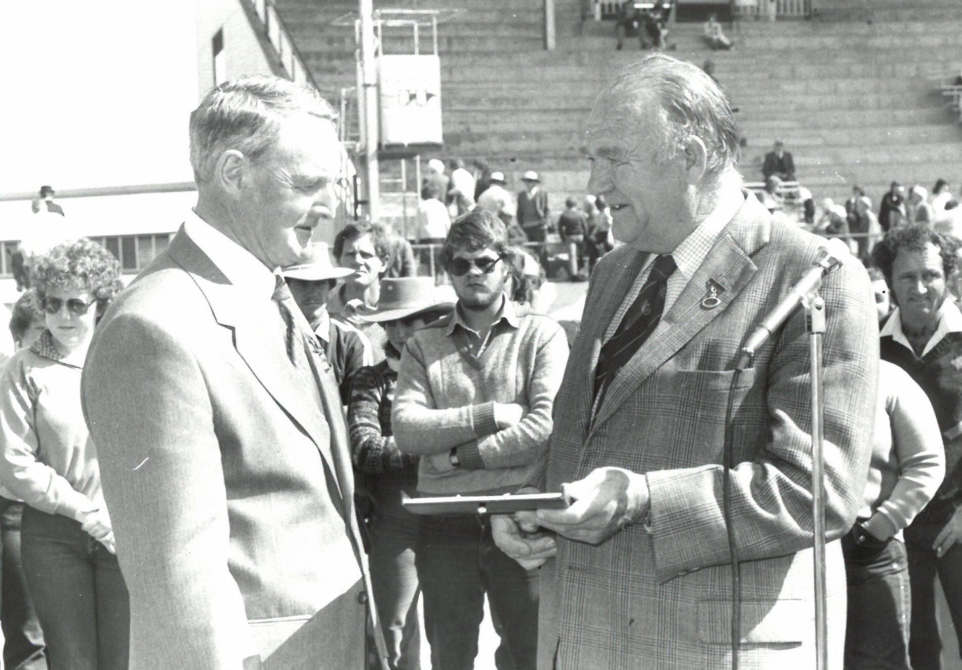 Mr Dick Johnson, Brookfield Park recieves trophy for Supreme Champion beef bull at the 1982 Melbourne Royal Show