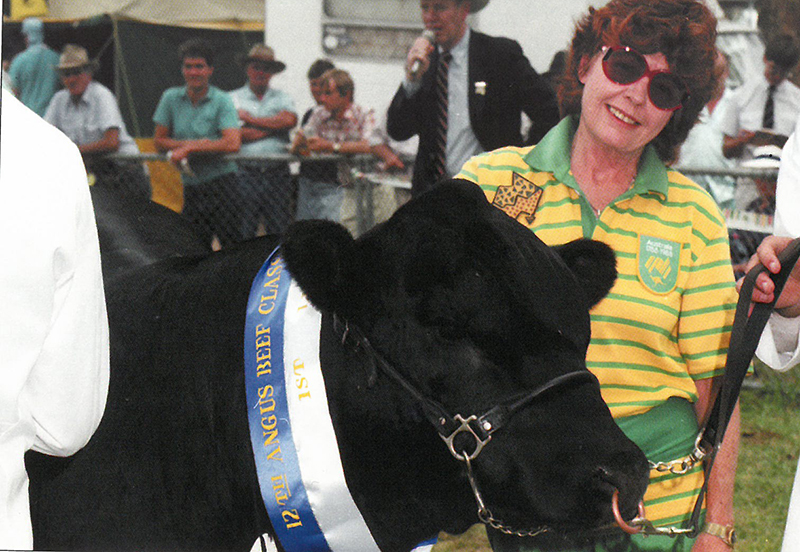 Chief Executive Officer (1983-1994) Enid Fisher at the Suzuki Beef Classic (Image from The History of Angus by Nigal Austin)