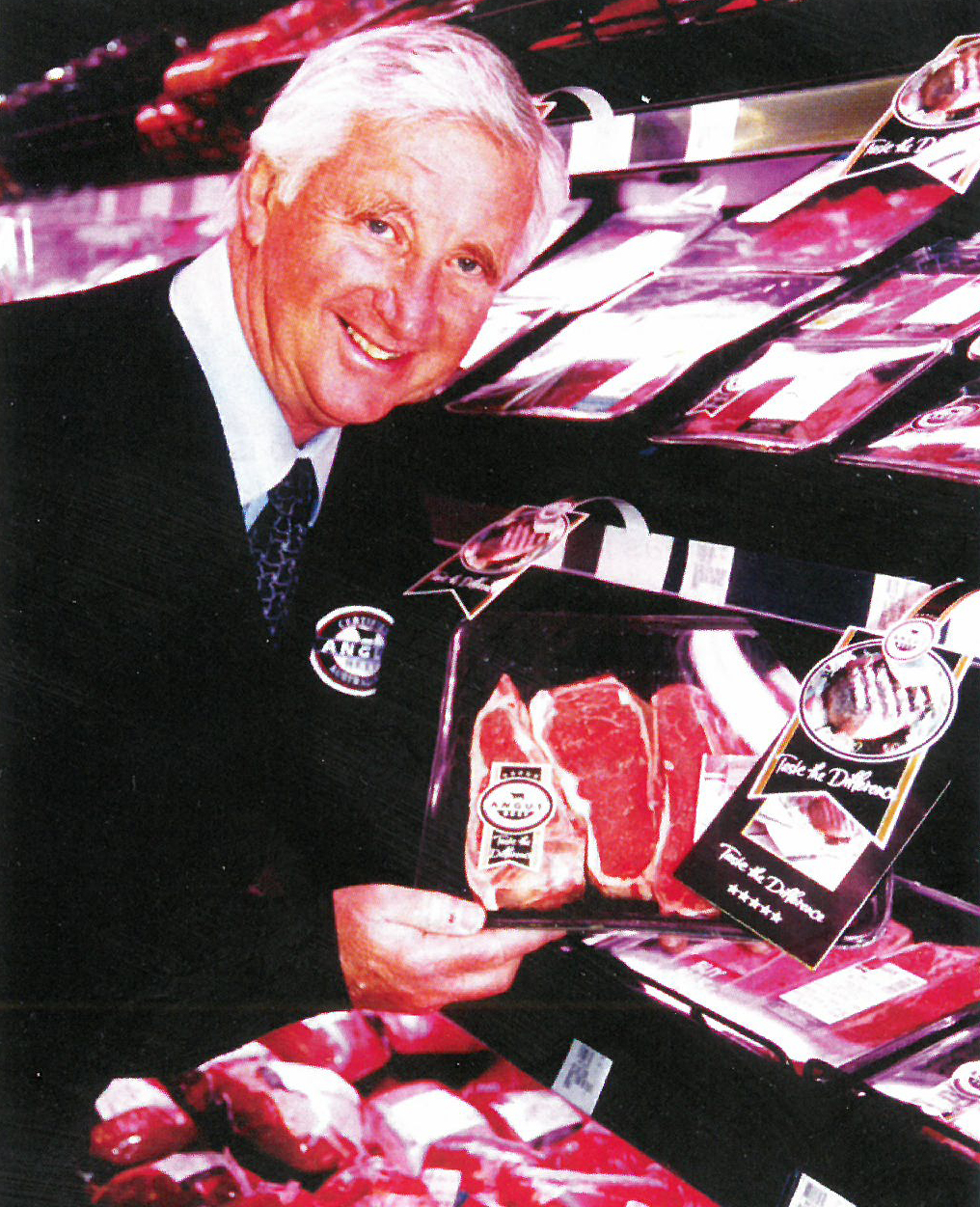 CAABs Chairman Michael Pointer with CAAB meat in Coles Supermarket, Angus Australian Journal 2004