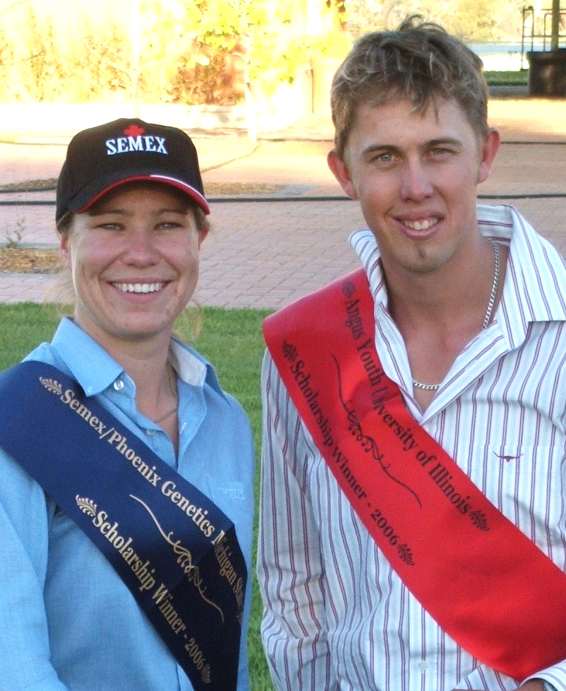 Melissa Neal, the 2006 winner of the Semex Phoenix Genetics Michigan State University Scholarship, with Jason Schulz, the 2006 University of Illinois Scholarship winner at the 2006 National Angus Youth Roundup