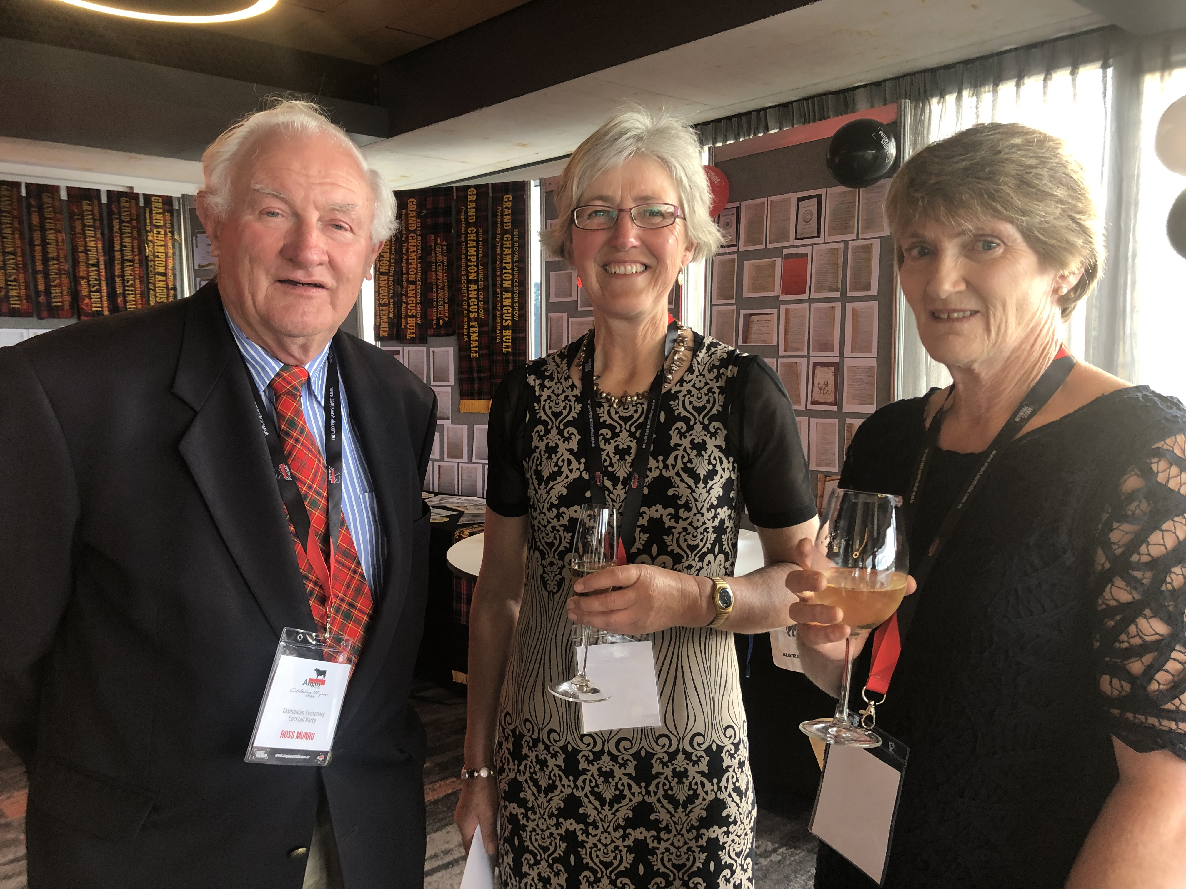 Ross Munro, Josie Beveridge and Robyn Hall at the Tasmanian Centenary Function
