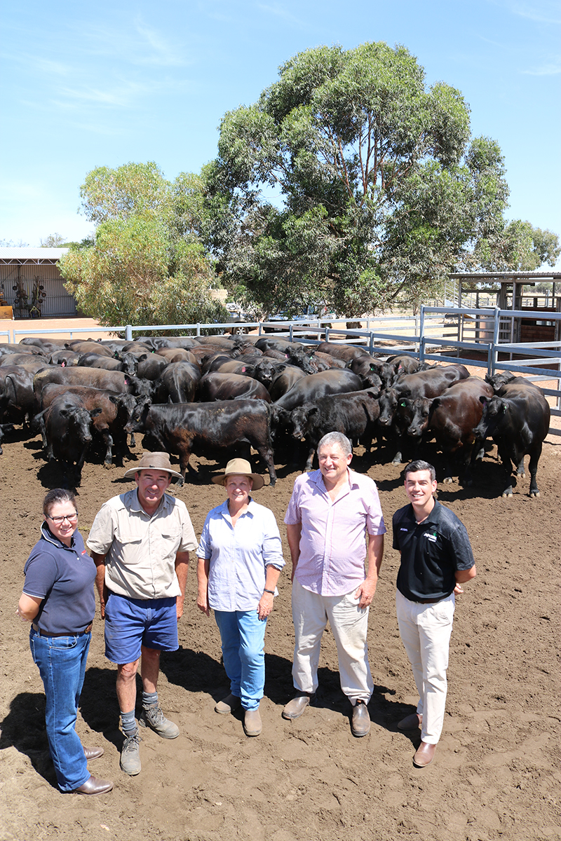 Farm Weekly Livestock Manager, Jodie Rintoul, Steve & Irene Neville, WA Angus Chairman, Mark Hattingh and AFGRI Equipment Australia Marketing & Small Ag Manager, Jacques Coetzee, with some of the Angus heifers that are up for grabs