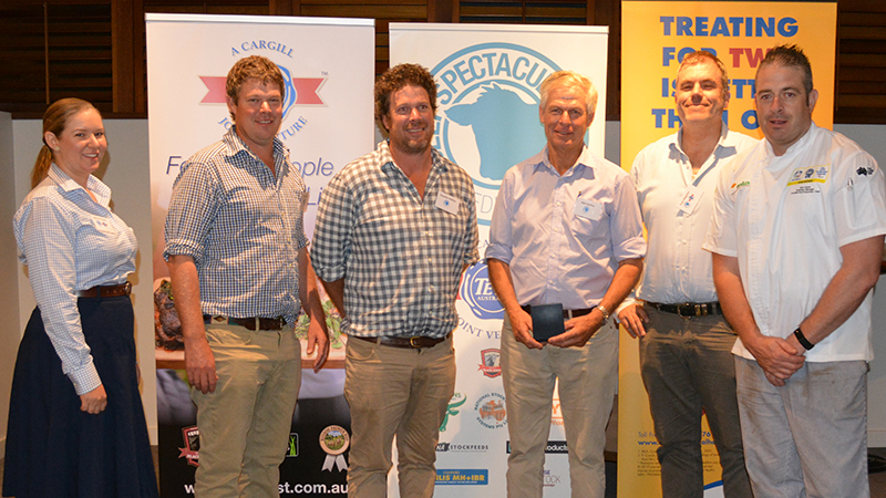 Jasmine Green, Teys Australia with Tim, Charles and Mal Hufton of Hufton Pastoral Co, Harden, receiving the highest MSA index of the competition to win the Eating Qaulity awards, with Angus steers, with Tom Maguire,  Image courtesy of The Land