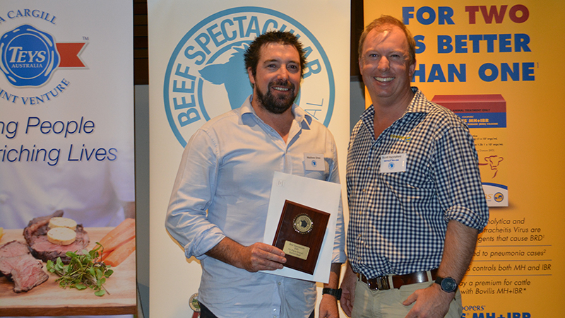 Seventh place went to Matt Shea, Barfold Beef, Barfold, Vic, who is pictured with Scott Hannaford of Coopers Animal Health.  Image courtesy of The Land